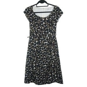 Boden Brown Black White Cotton Shift Dress 4L